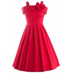 Vintage Spaghetti Strap Bowknot Embellished Women's Dress