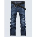 Casual Solid Color Ripped Zip Fly Men's Cropped Jeans for sale