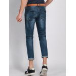 Casual Solid Color Ripped Zip Fly Men's Cropped Jeans deal