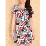 Trendy Scoop Neck Letter Print Stars Pattern Short Sleeves Dress For Women
