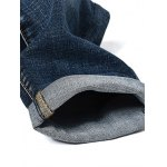 Fashion Zip Fly Straight Legs Men's Cropped Jeans photo