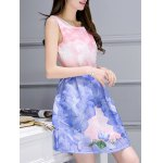 cheap Simple Style Women's Belted Sleeveless Organza Swan Print Dress