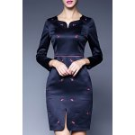 Sweetheart Neck Embroidered Vintage Mini Dress