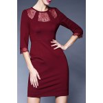 Round Collar Lace Spliced Bodycon Dress