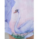 Simple Style Women's Belted Sleeveless Organza Colorful Swan Print Dress photo