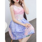 cheap Simple Style Women's Belted Sleeveless Organza Colorful Swan Print Dress