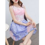 Simple Style Women's Belted Sleeveless Organza Colorful Swan Print Dress deal