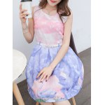 Simple Style Women's Belted Sleeveless Organza Colorful Swan Print Dress