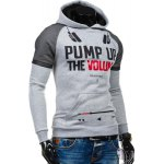 cheap Volie Spliced Letters Print Front Pocket Hooded Long Sleeves Hoodie For Men