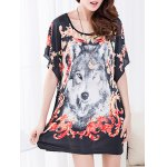 cheap Casual Floral Print Wolf Pattern Loose-Fitting Women's Belted T-Shirt