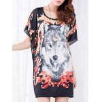Casual Floral Print Wolf Pattern Loose-Fitting Women's Belted T-Shirt for sale