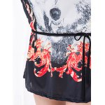 Casual Floral Print Wolf Pattern Loose-Fitting Women's Belted T-Shirt photo