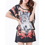 Casual Floral Print Wolf Pattern Loose-Fitting Women's Belted T-Shirt deal