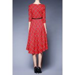 cheap Plaid Belted Swing Dress