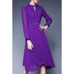 Midi Long Sleeve Chiffon Dress