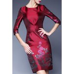 Rhinestone Floral Jacquard Sheath Dress