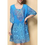 Stylish Scoop Neck Hlaf Sleeve Retro Printed Chiffon Women's Dress deal