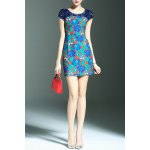 best Stylish Round Neck Short Sleeve Lace Spliced Printed Women's Dress