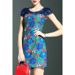 Stylish Round Neck Short Sleeve Lace Spliced Printed Women's Dress for sale