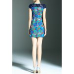 cheap Stylish Round Neck Short Sleeve Lace Spliced Printed Women's Dress