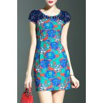 Stylish Round Neck Short Sleeve Lace Spliced Printed Women's Dress deal