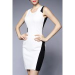 V Neck Color Block Sheath Dress