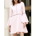 Stylish Round Neck Flare Sleeve Loose Cut Out Women's Dress