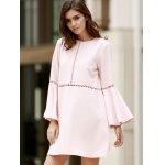 cheap Stylish Round Neck Flare Sleeve Loose Cut Out Women's Dress