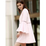 Stylish Round Neck Flare Sleeve Loose Cut Out Women's Dress deal