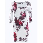 Simple Style Women's 3/4 Sleeve Floral Print Jewel Neck Dress