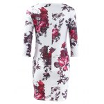 Three Quarter Sleeve Floral Print Bodycon Dress deal