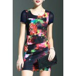 Stylish Round Neck Short Sleeve Fitted Beading Printed Women's Dress deal