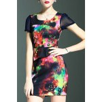 Stylish Round Neck Short Sleeve Fitted Beading Printed Women's Dress for sale