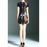 cheap Stylish Round Neck Short Sleeve Fitted Beading Printed Women's Dress