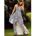 Trendy Plunging Neck Back Lace Up Floral Print Asymmetric Maxi Dress For Women deal