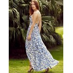 Trendy Plunging Neck Back Lace Up Floral Print Asymmetric Maxi Dress For Women for sale