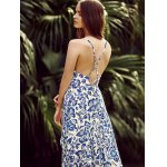 best Trendy Plunging Neck Back Lace Up Floral Print Asymmetric Maxi Dress For Women