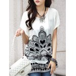Fashionable Women's Short Sleeve Floral Print Loose-Fitting T-Shirt