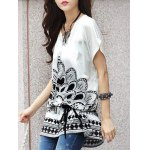 cheap Fashionable Women's Short Sleeve Floral Print Loose-Fitting T-Shirt