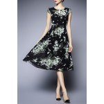 Floral Print Short Sleeve Chiffon Dress for sale