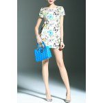 Stylish Round Neck Short Sleeve Fitting Butterfly Print Women's Dress photo
