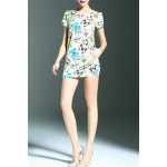 best Stylish Round Neck Short Sleeve Fitting Butterfly Print Women's Dress