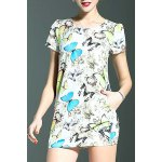Stylish Round Neck Short Sleeve Fitting Butterfly Print Women's Dress deal