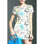 cheap Stylish Round Neck Short Sleeve Fitting Butterfly Print Women's Dress