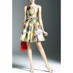 Stylish Round Neck Sleeveless Belted Printed Women's Dress photo