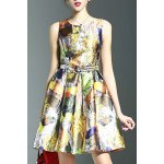 Stylish Round Neck Sleeveless Belted Printed Women's Dress