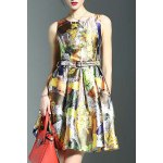 Stylish Round Neck Sleeveless Belted Printed Women's Dress deal