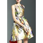Stylish Round Neck Sleeveless Belted Printed Women's Dress for sale