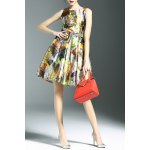 best Stylish Round Neck Sleeveless Belted Printed Women's Dress