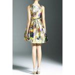 cheap Stylish Round Neck Sleeveless Belted Printed Women's Dress